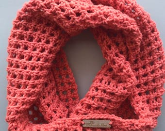 Crochet infinity scarf/crochet scarf/salmon colored/handmade scar/Lattice