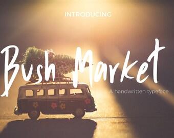 Calligraphy Font,  Swirly Font, Wedding Watercolor, Christmas font, Handwritten Script  Instant Download - Bush-market-script-font