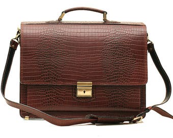 Brown Leather Crocodile Briefcase Leather Laptop Bag Brown Business Bag Leather Messenger Bag Brown Crocodile Bag A4 Leather Briefcase