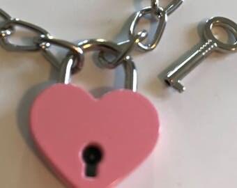 Heart Padlock - Pink or Silver
