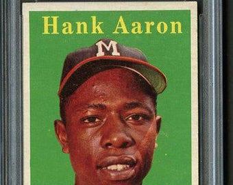1958 Topps Hank Aaron Yellow Name HOF #30 - PSA 6 - Centered