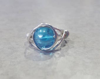 Blue Glass Bead Wire Wrapped Ring