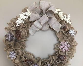 Ruffled natural burlap, winter wreath