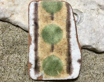 Large Sea Pottery Piece * Tree Patterned Beach Pottery * Green Yellow White Floral Sea Pottery Terracotta. Vintage Interior Home Decoration