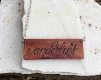 Wanderlust Cedar Wood Necklace Boho Travel Necklace Wanderlust Necklace Silver Wood Bib Necklace