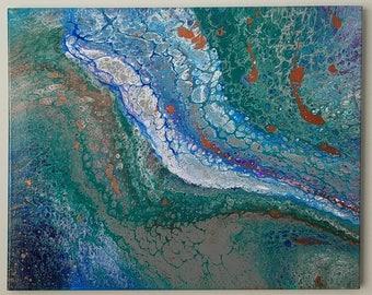 "JetStream - 16""x20""- Fluid Acrylic Painting"