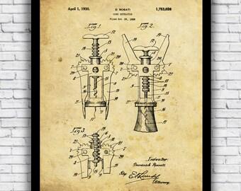 Vintage Wine Corkscrew Patent Diagram - wall art print (w/ optional frame)