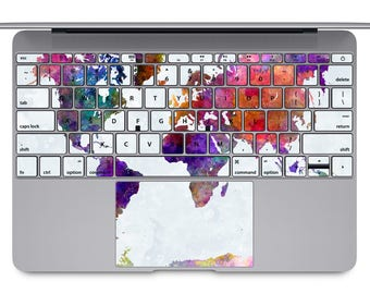 Macbook air etsy world map macbook keyboard travel macbook keys decal watercolor macbook pro sticker macbook air keypad skin gumiabroncs Image collections