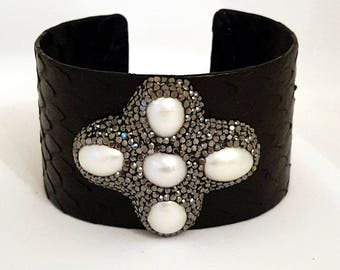 Python leather bangle bracelet with freshwater pearls and Swarovski crystals