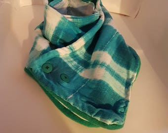 Blue plaid cowl neck scarf with face warmer