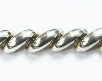 "Beautiful Sterling Silver Macaroni Bar Link Braclet 8.75"" 15mm"
