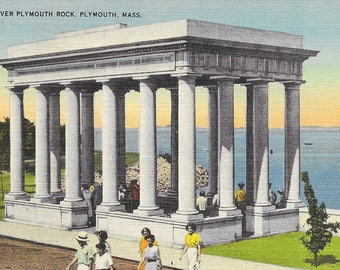 Plymouth Rock Postcard Portico Over Plymouth Rock, Plymouth, MA / Vintage Linen Postcard Unposted
