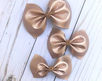 Rose gold faux leather bow, baby headband, alligator clip, nylon headband , barrette