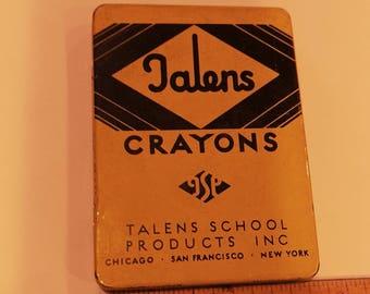 Vintage Crayon Tin and Crayons