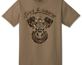 "CYCLE CULT T-Shirt ""Iver Johnson"" Vintage Pre War Motorcycle Rocker Garage Mechanic Gear Head Antique Cycle Club distressed style tee S-4XL"