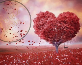 Tree of Love Backdrop, Tree of Love Background, Valentines Digital Backdrop, Valentines Digital Background, Heart Backdrop, Heart Background