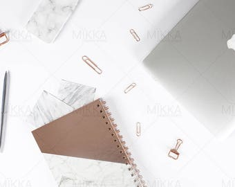 Rose Gold Workspace Collection | Flat Lay Photo | Stationery | Styled Stock Photography | Marble | Pink