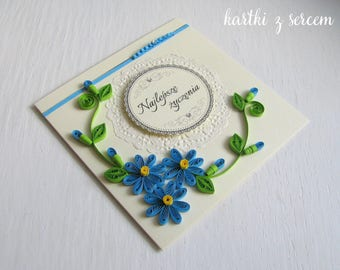 Handmade customised paper card with flowers, quilling filigree, birthday, anniversary, retirement, greeting, occasional, scrapbooking