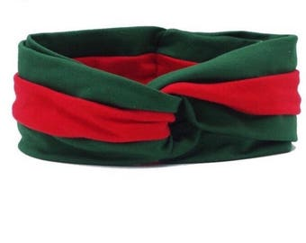 New Red Green Stripe Black Red Twisted Headband Turban High Quality Free Shipping