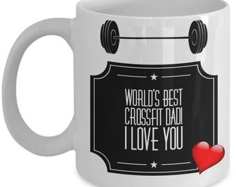 World's Best CROSSFIT DAD! White Coffee Mug, Crossfit Dad's Gift, Crossfit Dad's keepsake, Crossfit Dad's present.