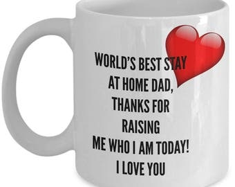 World's Best STAY At HOME DAD! White Coffee Mug, Stay At Home Dad's Gift, Stay At Home Dad's keepsake, Stay At Home Dad's present.