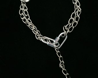 Silver Chain Choker with O Ring and clasps ~ goth industrial alternative grunge