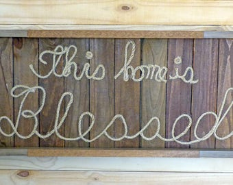 Large Wall Wood and Twine Blessed Sign, Wall Twine Lettering Sign, Wall Blessed Sign, Wall Belssed Sign Home Décor, Twine Lettering Sign