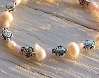 Turtle, Pearl, and Pink Bracelet