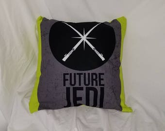 Green and gray JEDI Accent Pillow Cover, Star Wars pillow, geek gift, geek decor, Sci Fi, Lightsaber, the force, Master, blue pillow cover