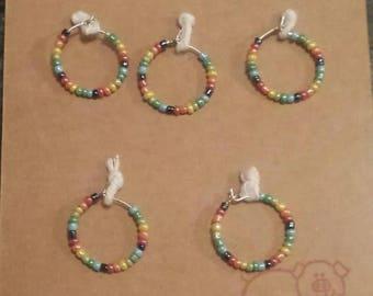 Rainbow wine glass charms x 5