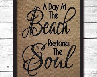 beach print, beach art, beach wall art, beach wall decor, a day at the beach, burlap print, beach house wall decor, beach house gift, B10