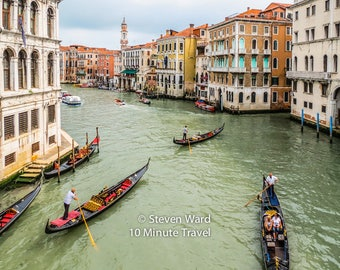 A wonderful view of the Grand Canal from the Rialto Bridge in Venice, Italy