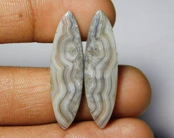 Top Quality Pair! Crazy lace agate matched pair, Crazy Lace Agate gemstone,Crazy lace agate cabochons,Loose gemstone 24.85cts, (36x10x4)mm