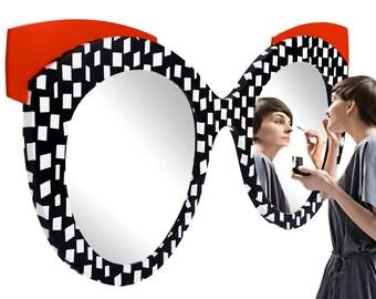 Mirror-Black-white-red/mirror glasses black-white-red