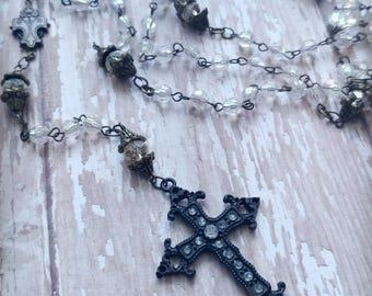 Antiqued Metal and Rhinestone Rosary with Clear Beading