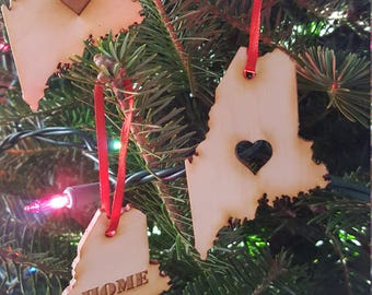 Maine Ornament, Made in Maine, Christmas Ornament, Laser Cut