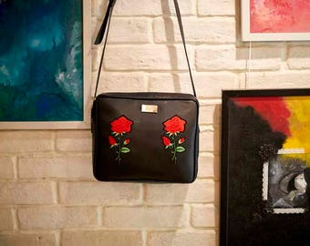 Black Rose Sling, Cross Body Sling Bag, Vegan Leather, Vegan Bag,  Handmade Bag, Canvas
