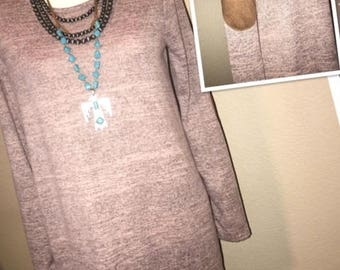 Tunic with Elbow Patches, Boutique Clothing, Mauve with Suede, Tunic, Chic Tops, Lightweight Sweater, Gift for Her, Gift for Mom, Fashion