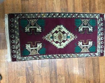 Rug,carpet,tribal carpet,naturel dyed carpet,little size red carpet