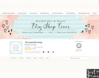 Valentines Etsy Shop banner with brushstrokes, hearts and stripes. DIY cover and icon. Pretty blog, shop, social media cover and icon.