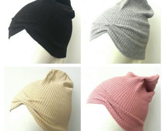 Pleated Knitted Bonnet, Hijab Cap, Underscarf Inner cap Hijab