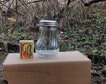 Vintage Sugar Pourer, Glass Sugar Pourer, Art Deco Sugar Bowl, Retro Glass Sugar Bowl, Glass With Metal Dispenser,