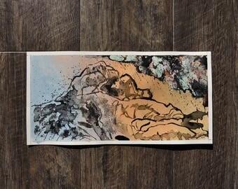 "Small Original Mixed Media Artwork On Paper - American Southwest Desert Landscape -""Joshua Tree, California: July Rain"""