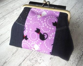 Gamaguchi Purse with Japanese Kimono fabric, Size Medium, Cats