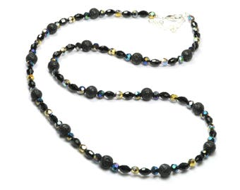 Necklace black lava beads and Bohemian facet Crystal beads