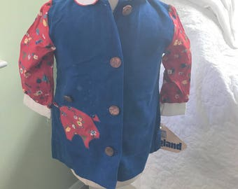 Youngland 2t Girls blue corduroy and red calico dress with penny buttons and piggy bank appliqué