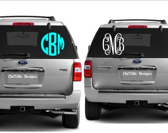 Monogrammed Personalized Stickers, Monogram, Yeti, Cup, Tumbler, Vinyl Decal,  Car Decal, Circle Monogram , Vine Monogram