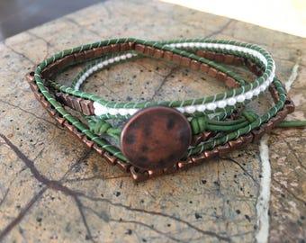 Metal & Green 3Wrap Bracelet