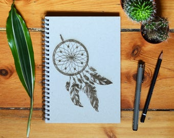 Eco Notebook, Personalized Gift, Handmade Notebook, Recycled Paper, Inspirational Quote, Customized Gift, Dreamcatcher