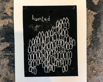 Haunted Lino Print